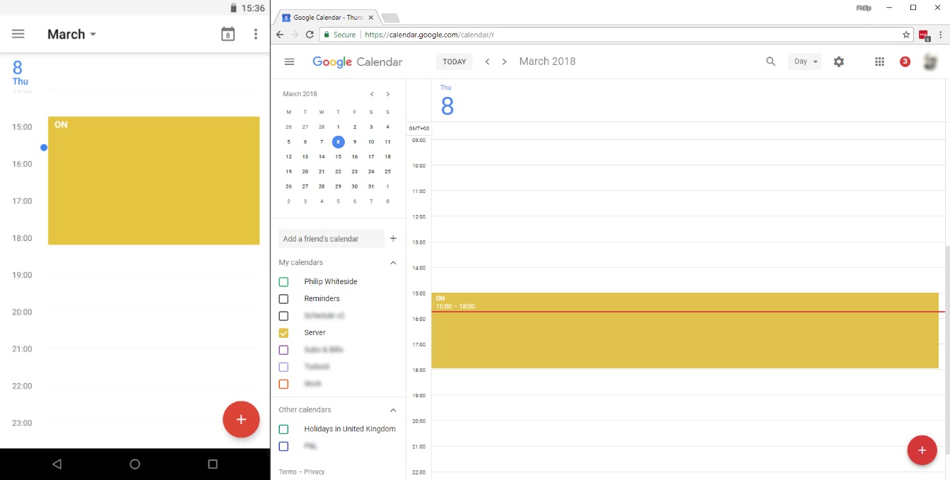Google Calendar on Android mobile and Web